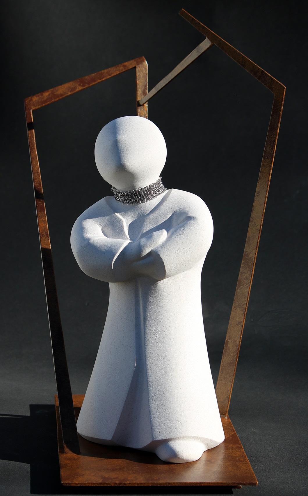Rêverie - Pierre de Lens et acier peint - 48x38x30 cm