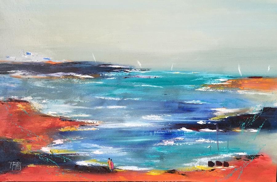 Bord de mer - Huile sur toile - 73x116 cm