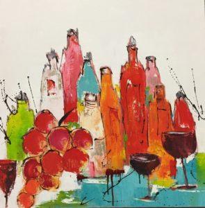 des vins et des parfums... - Huile sur toile - 80x80 cm