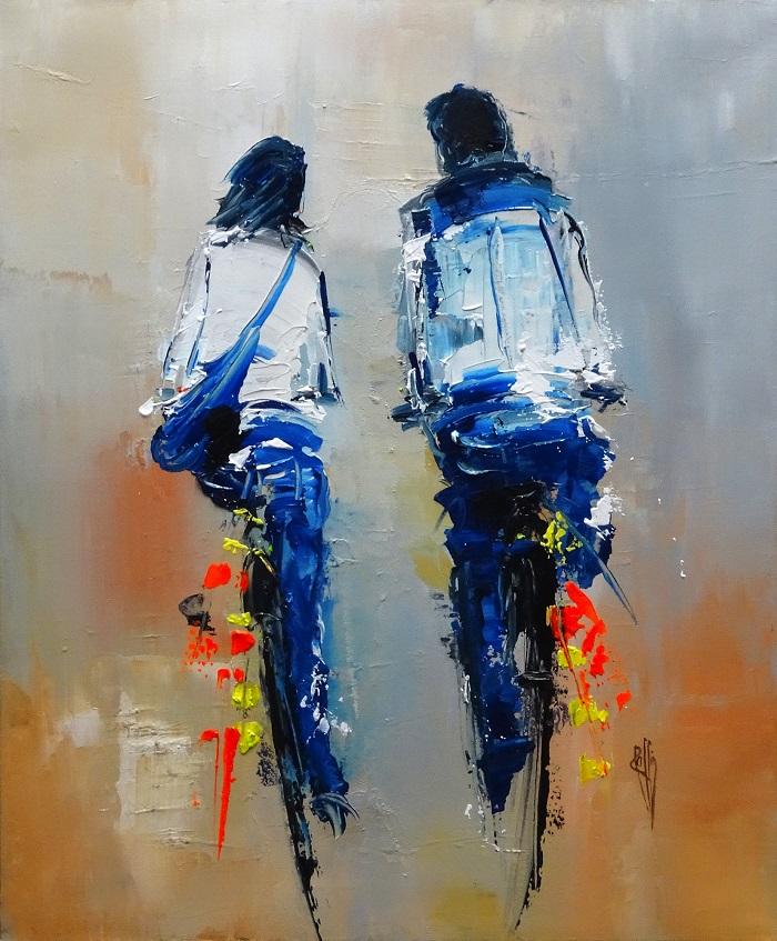 Tous les deux - Huile sur toile - 46x38 cm