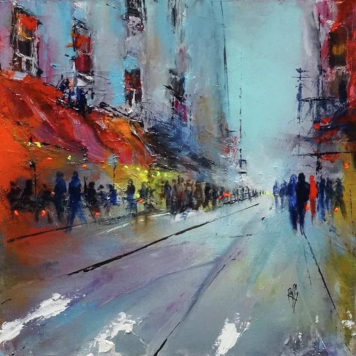 Balade en ville - Huile sur toile - 30x30 cm