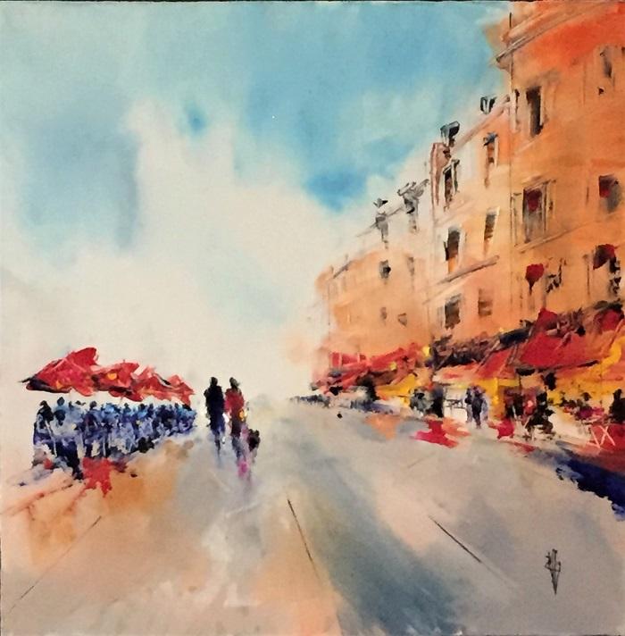 Les parasols rouges - Huile sur toile - 60x60 cm