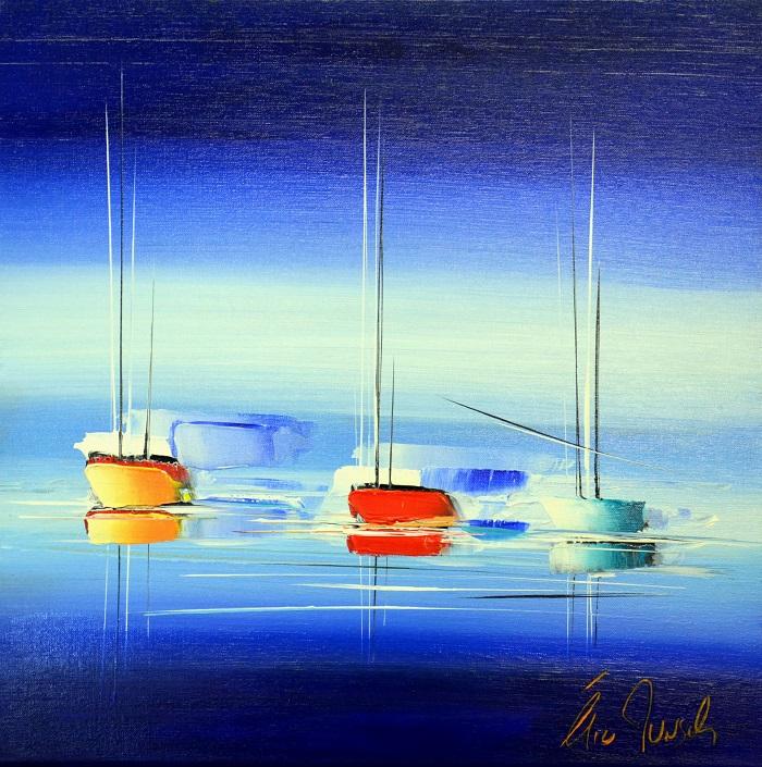 Blue day - Acrylique sur toile - 50 x 50 cm