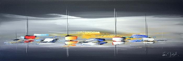 Le voyage crépusculaire - Acrylique sur toile -120 x 40 cm