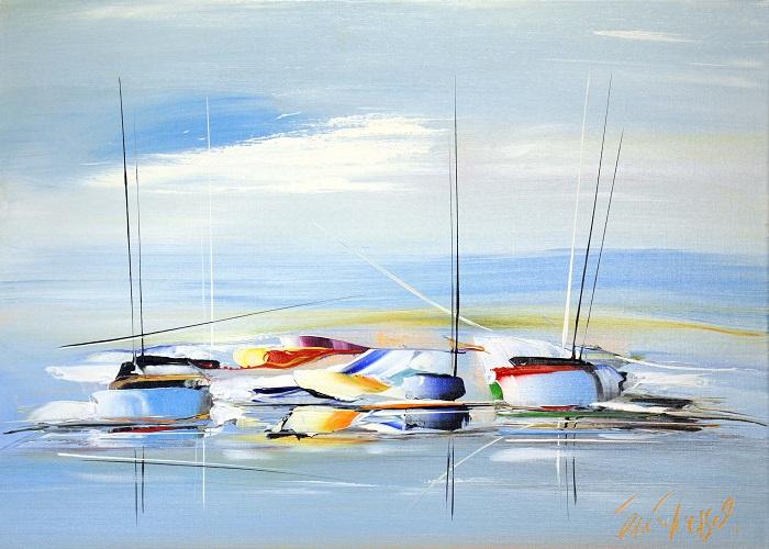 Un voyage bleu -Acrylique sur toile - 50 x 70 cm