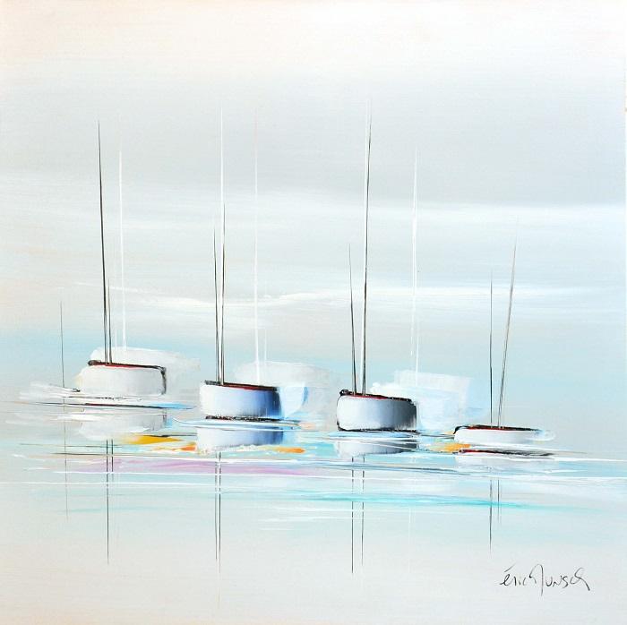 Voyage aux lignes épurées - Acrylique sur toile - 80 x 80 cm