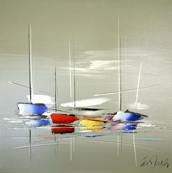Voyage sur océan - Acrylique sur toile -60 x 60 cm