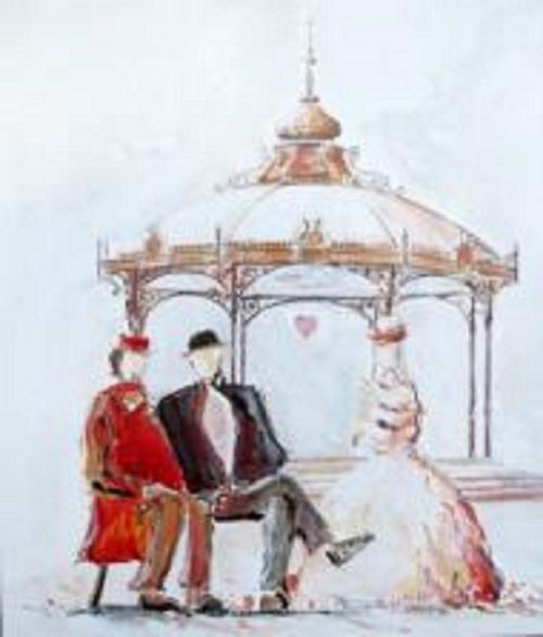 Conversation entre Eugène et Eugène - Acrylique lsur toile - 61x50 cm