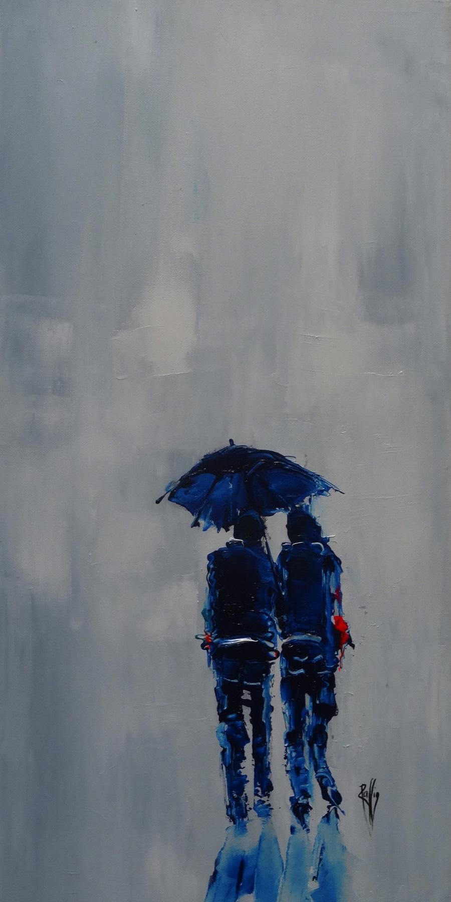 1070 - Sous ton parapluie - Huile sur toile - 60x30 cm