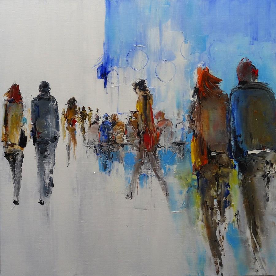 1112 - Balade citadine - Huile sur toile - 80x80 cm