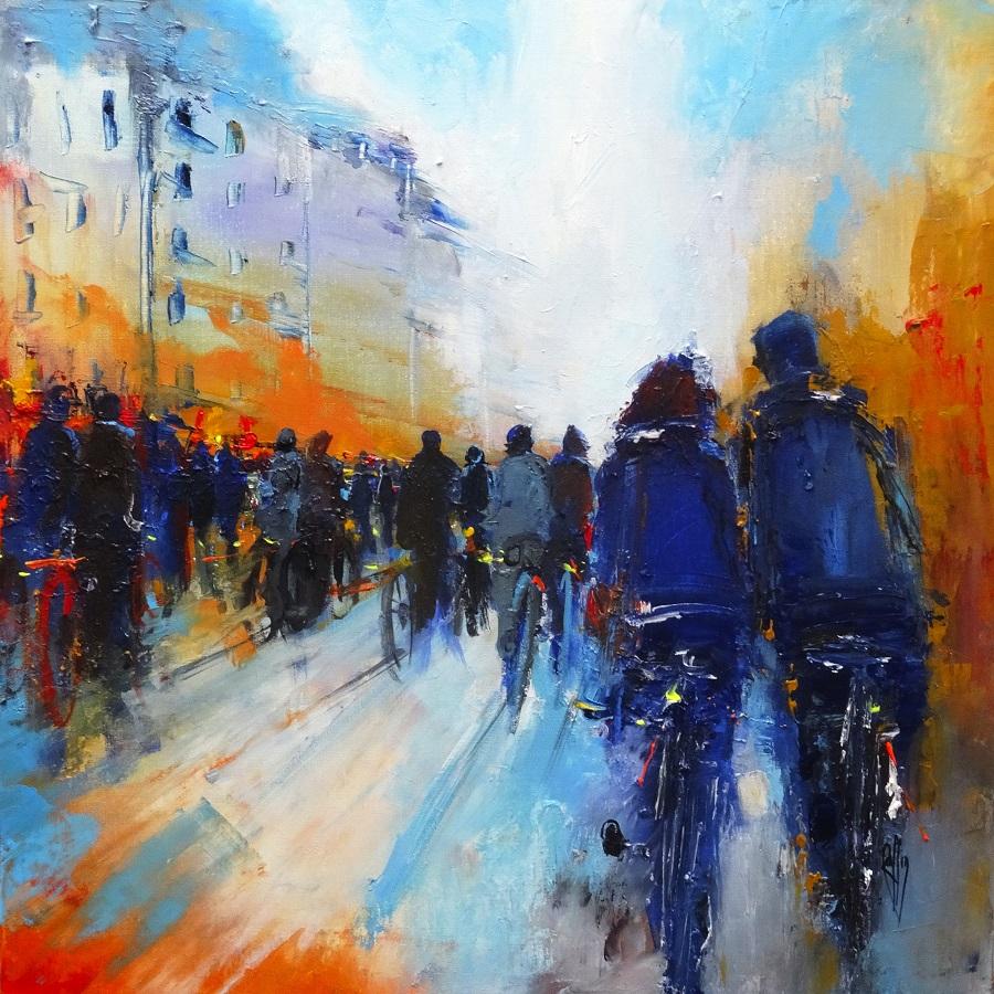 1115 - La foule - Huile sur toile - 50x50 cm