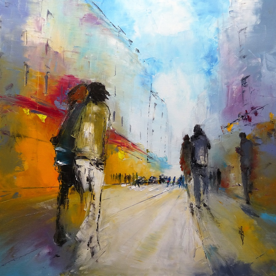 1125 Urban song - Huile sur toile - 100x100 cm