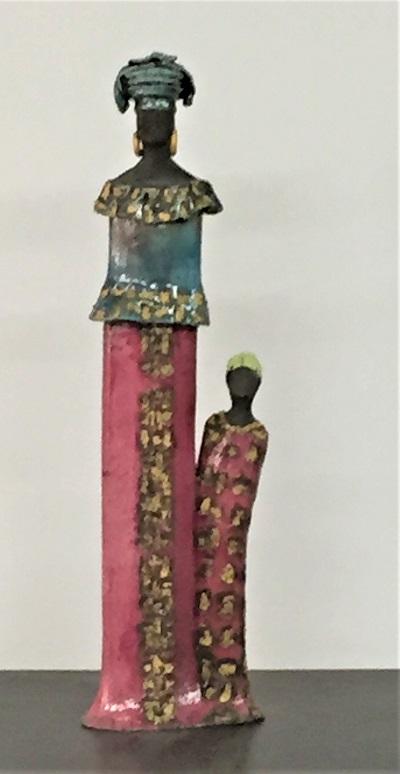 Femme Africiane avec petite fille - Céramique - 42 cm
