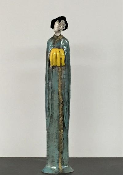 Geisha au kimono bleu et jaune - Cérmique - 42 cm - photo verso sur demande