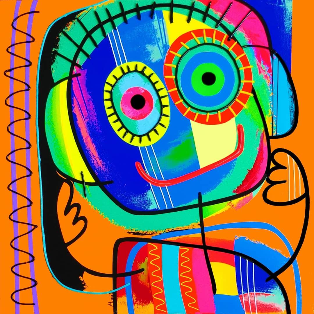 Psykedelic fond orange- Technique mixte sur toile - 80x80 cm