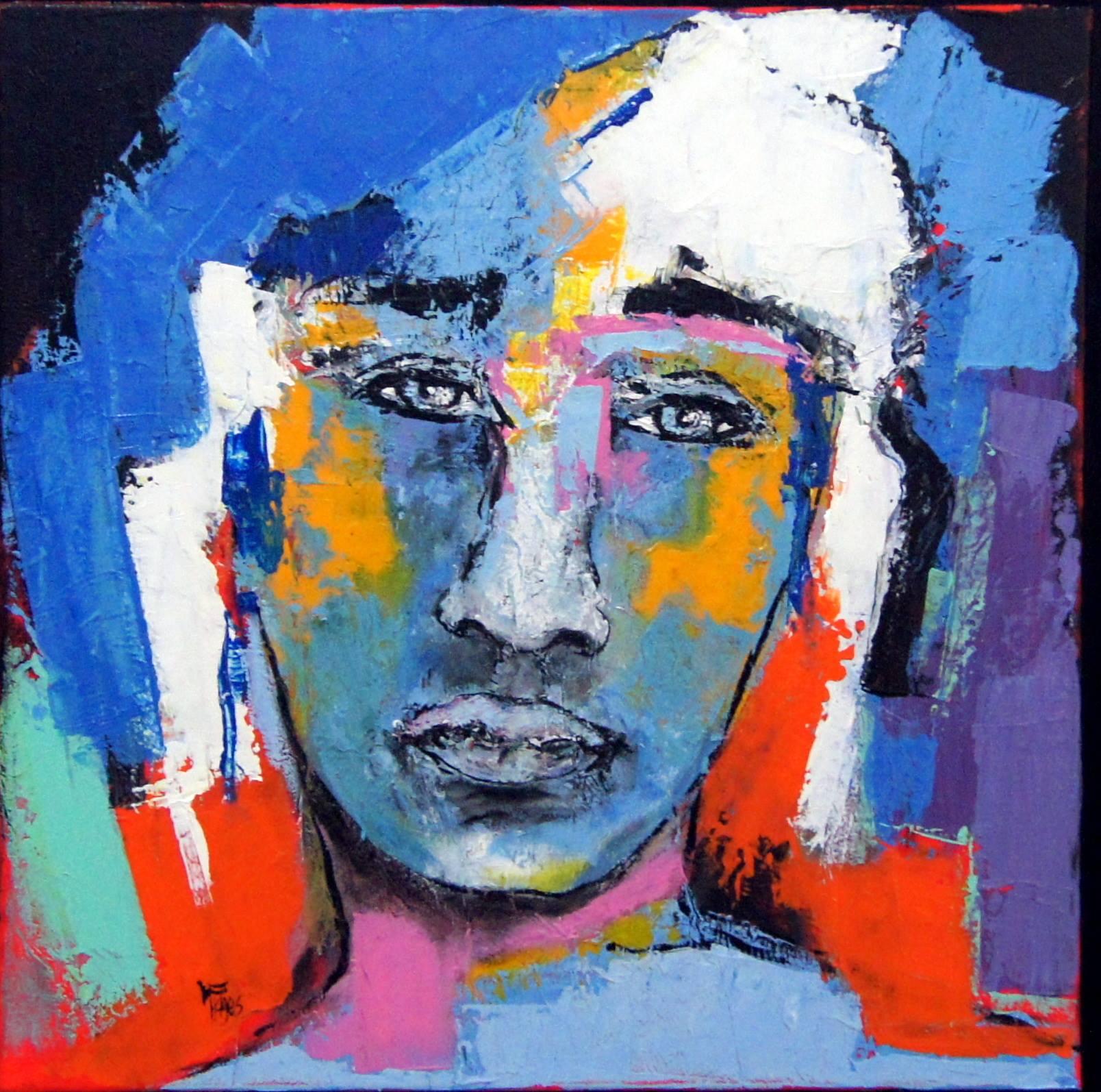 Salma - Huile papier marouflé sur toile - 50x50 cm