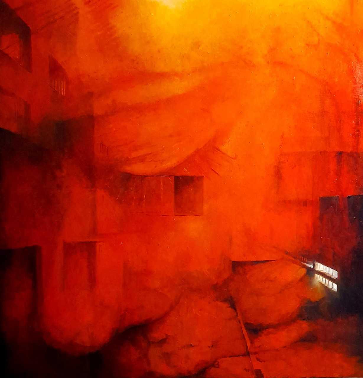Sans titre - Huile sur toile - 80x80 cm - encadré