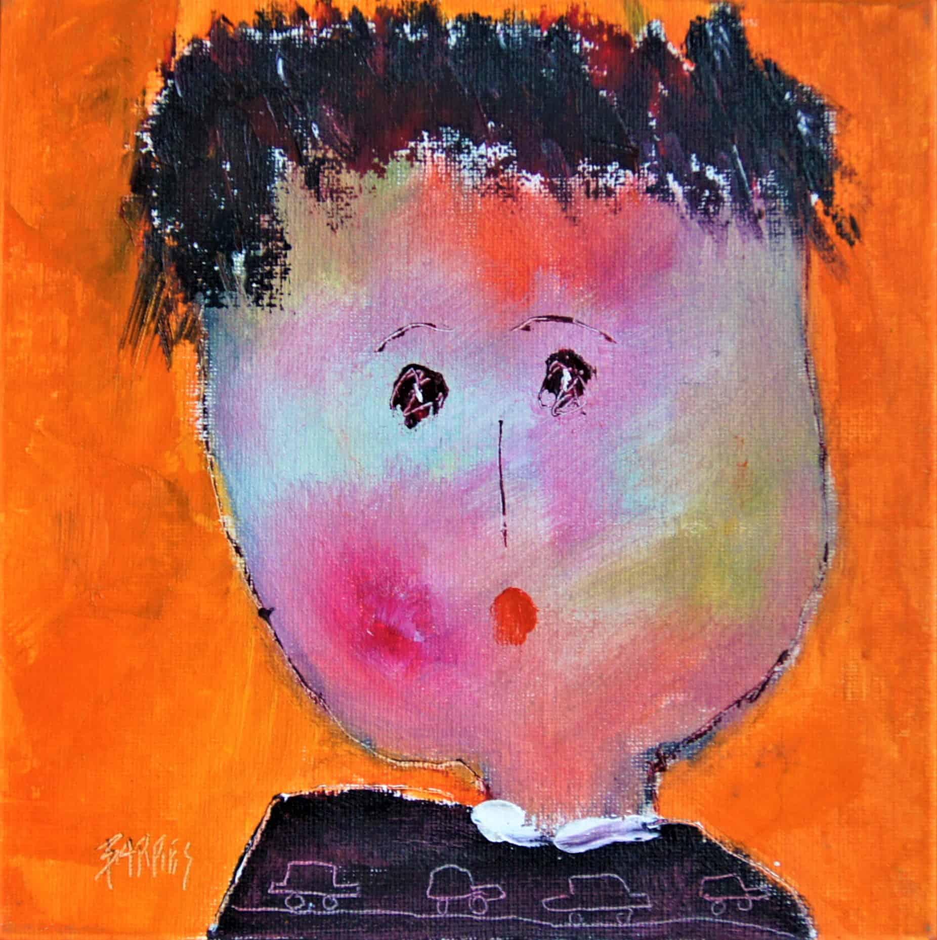 Portrait 6 - huile sur carton entoilé - 20x20 cm