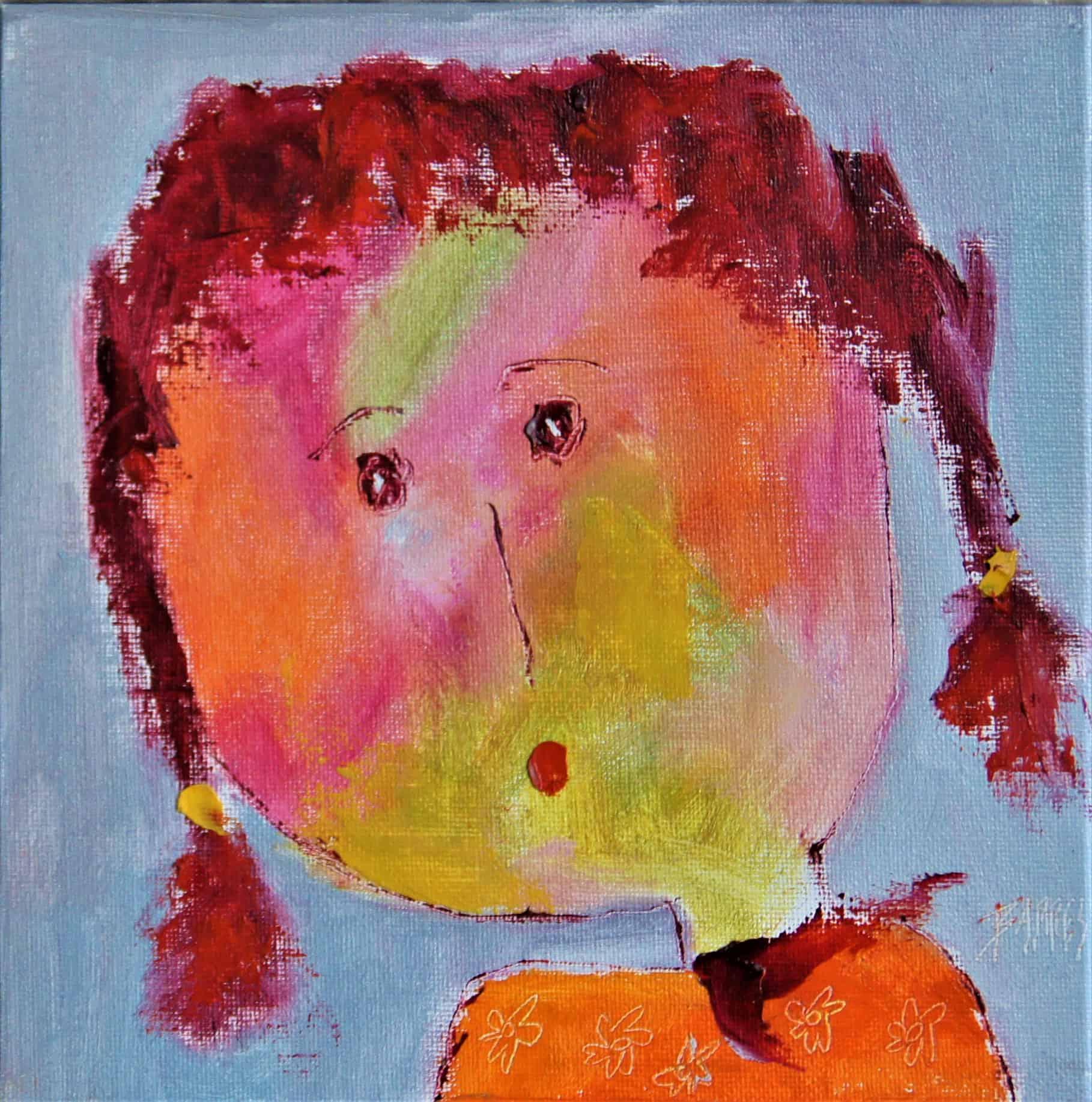 Portrait 7 - huile sur carton entoilé - 20x20 cm