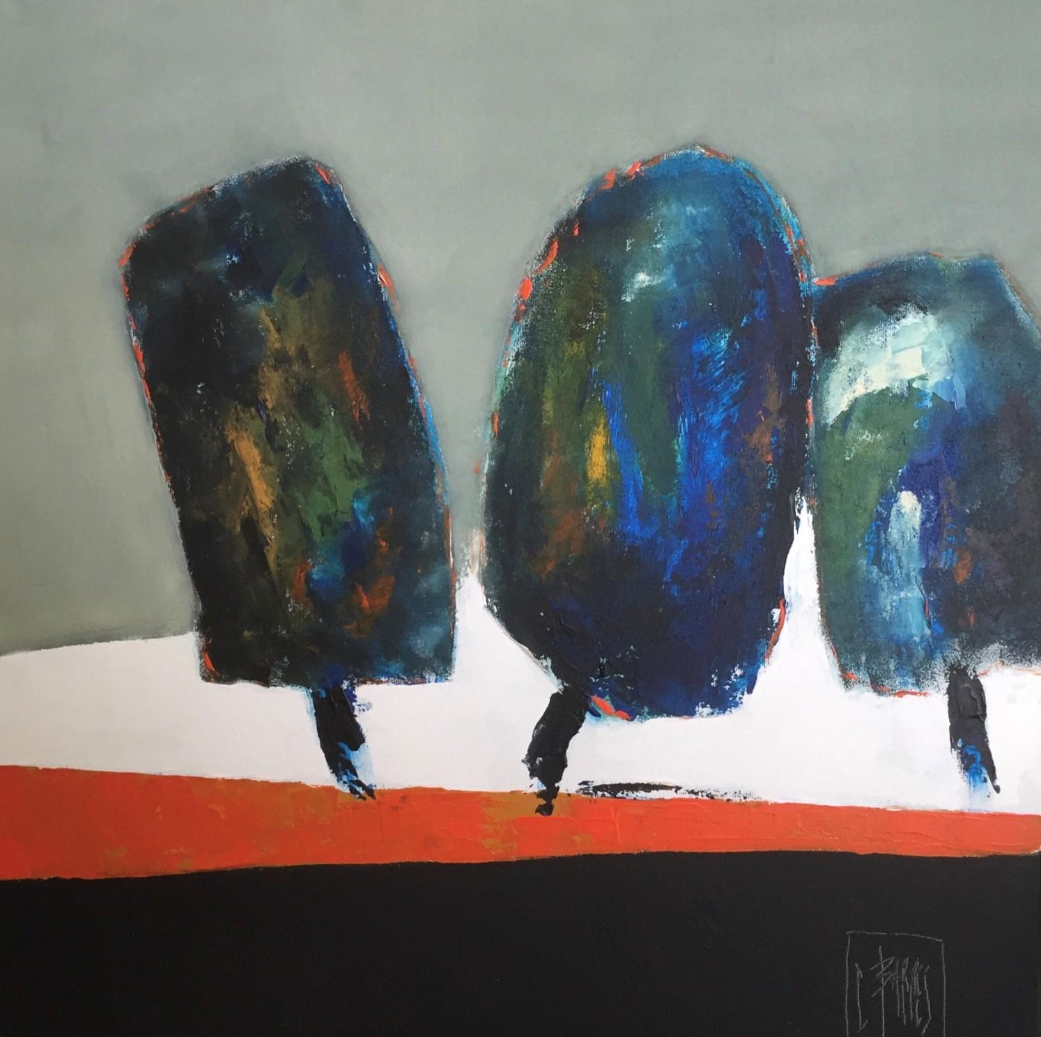 Les trois arbres - Huile sur toile - 80x80 cm