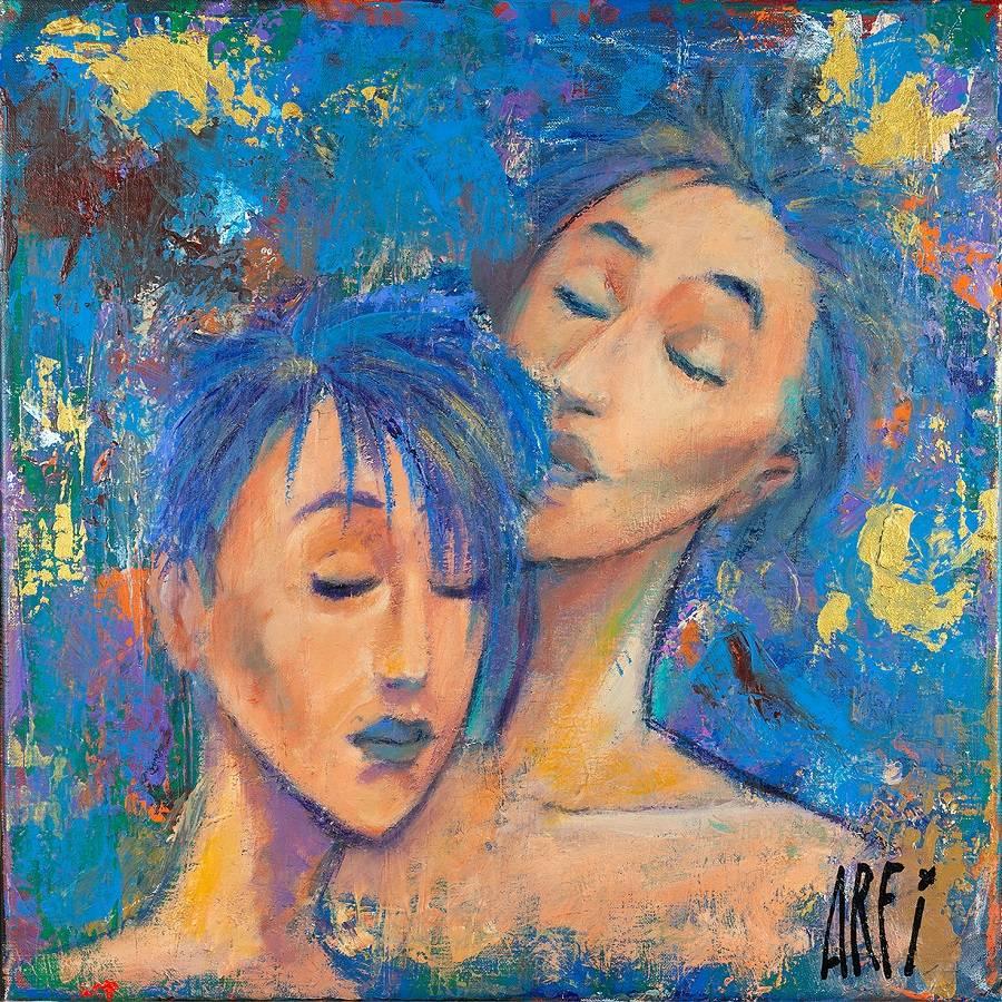 Le Parfum - Joël Arfi - Acrylique et pastel huile sur toile - 50x50 cm - Galerie Bost