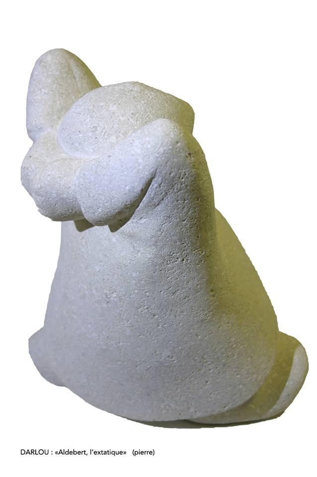 Aldebert, l'Extatique - Pierre du Gard (Calcaire), finition pierre naturelle - Hauteur 25 cm - 6,1 kg