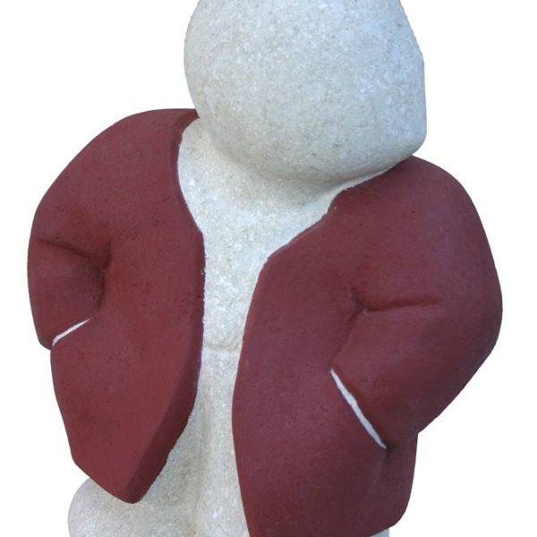 Barnabé, à l'écoute - Pierre du Gard (Calcaire), finition manteau rouge - Hauteur 37 cm - 17 kg