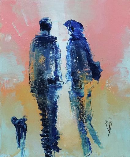 Regard complice - Huile sur toile 65x54 cm