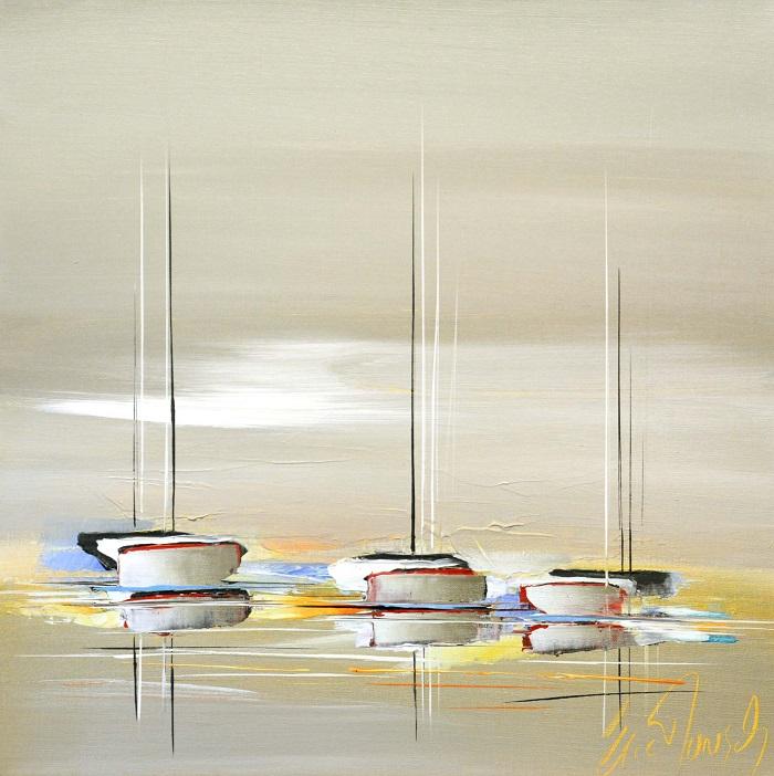 Les rivages de l'été - Acrylique sur toile -50 x 50 cm