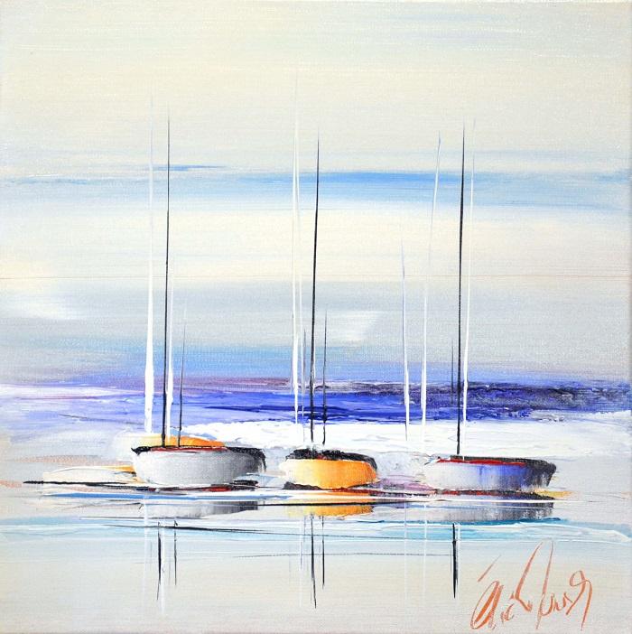 Vers les bleus de l'océan - Acrylique sur toile - 40 x 40 cm