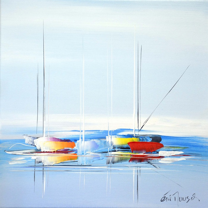 Voyage vers le bleu de l'océan - Acrylique sur toile - 40 x 40 cm