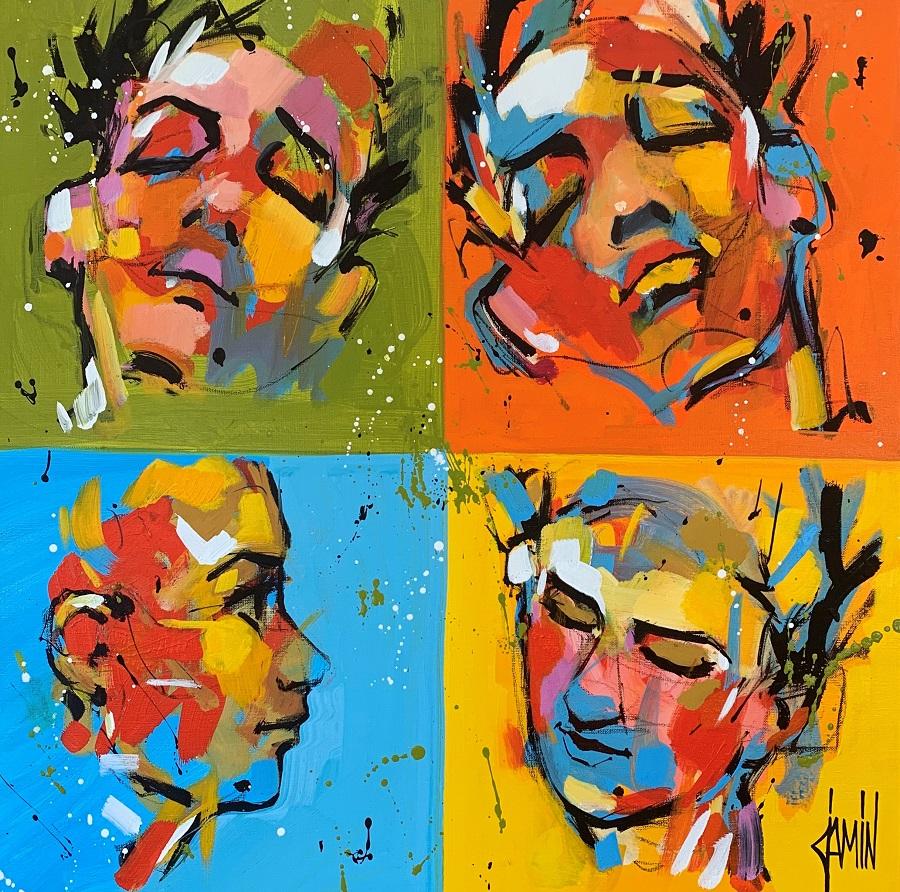 David Jamin - Faces - Acrylique sur toile - Tableau 60x60 cm
