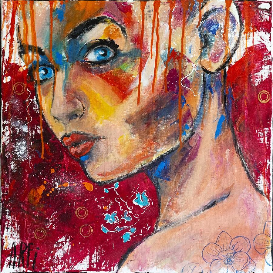 Alice - Acrylique et pastel huile sur toile - 50x50 cm