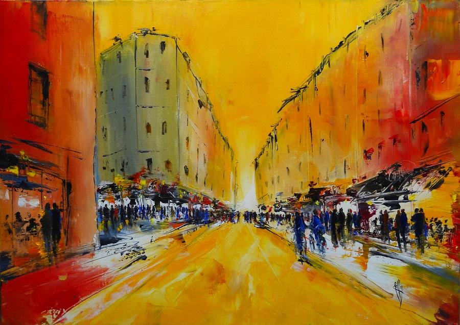 1119- Passage orangé - Huile sur toile - 65x92 cm