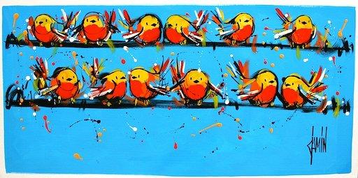 David Jamin - Ciel d'été - Acrylique sur toile - Tableau 60x120 cm