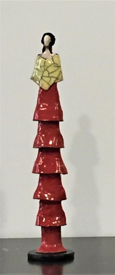 Femme Art déco robe rouge étole jaune - Céramique - 42 cm