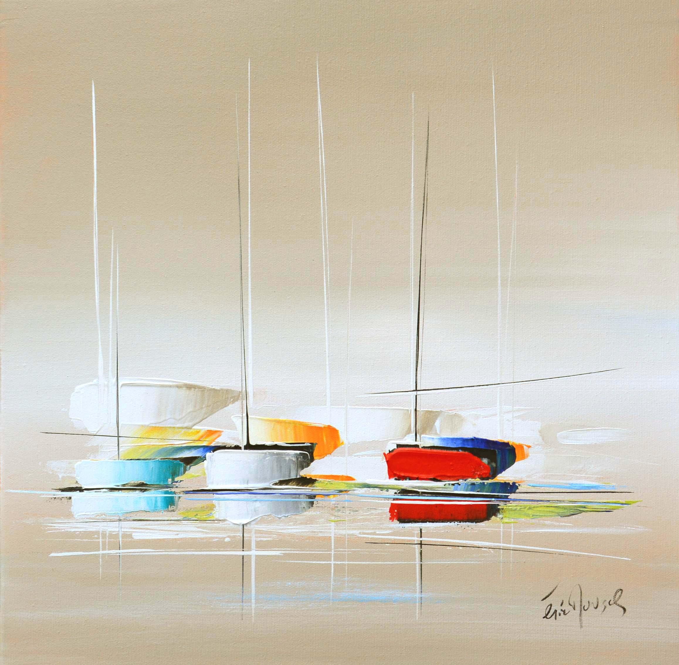 Paisible sur océan - Acrylique sur toile - 50x50 cm