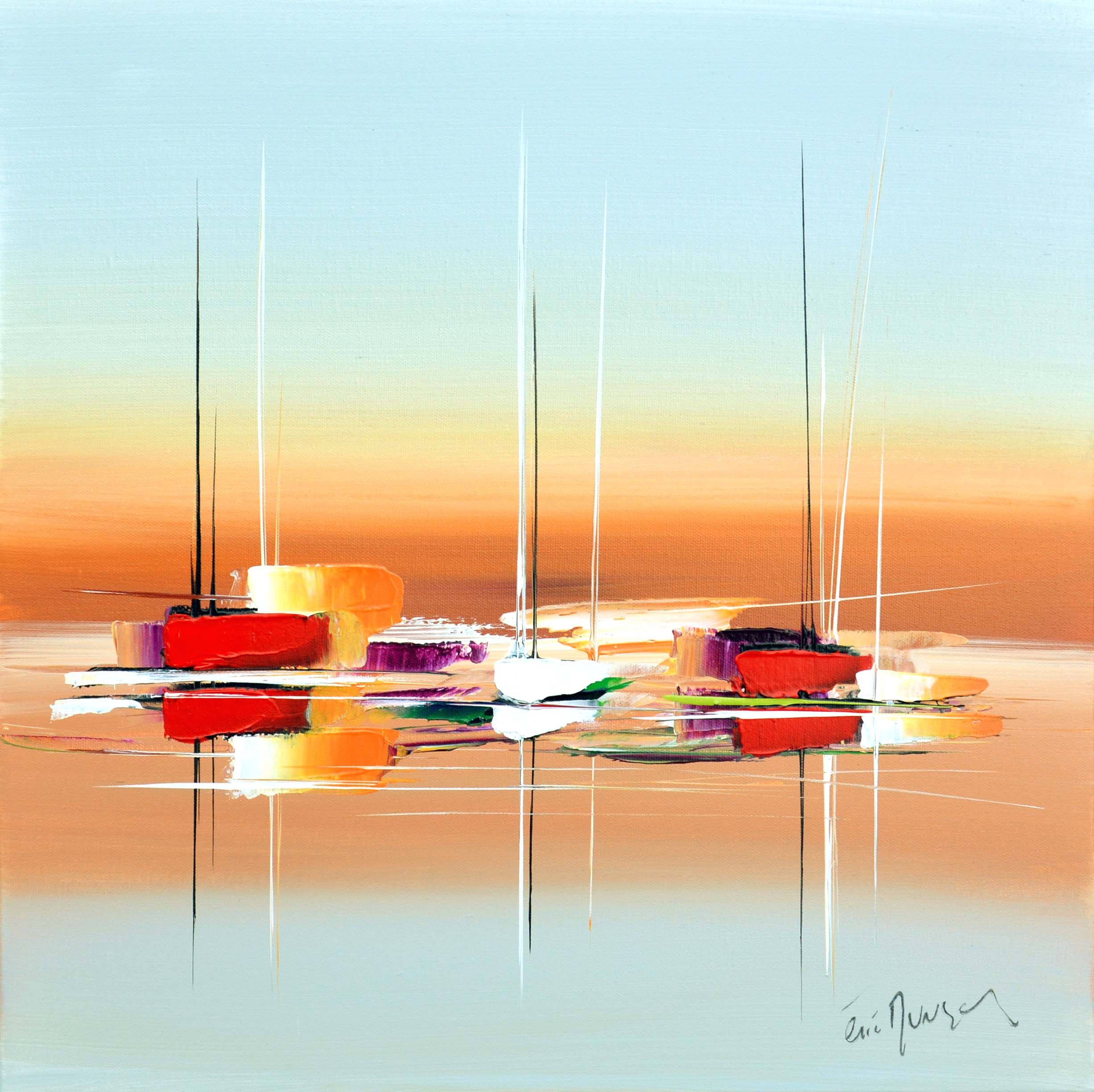 Sous les couleurs d'un été - Acrylique sur toile - 50x50 cm