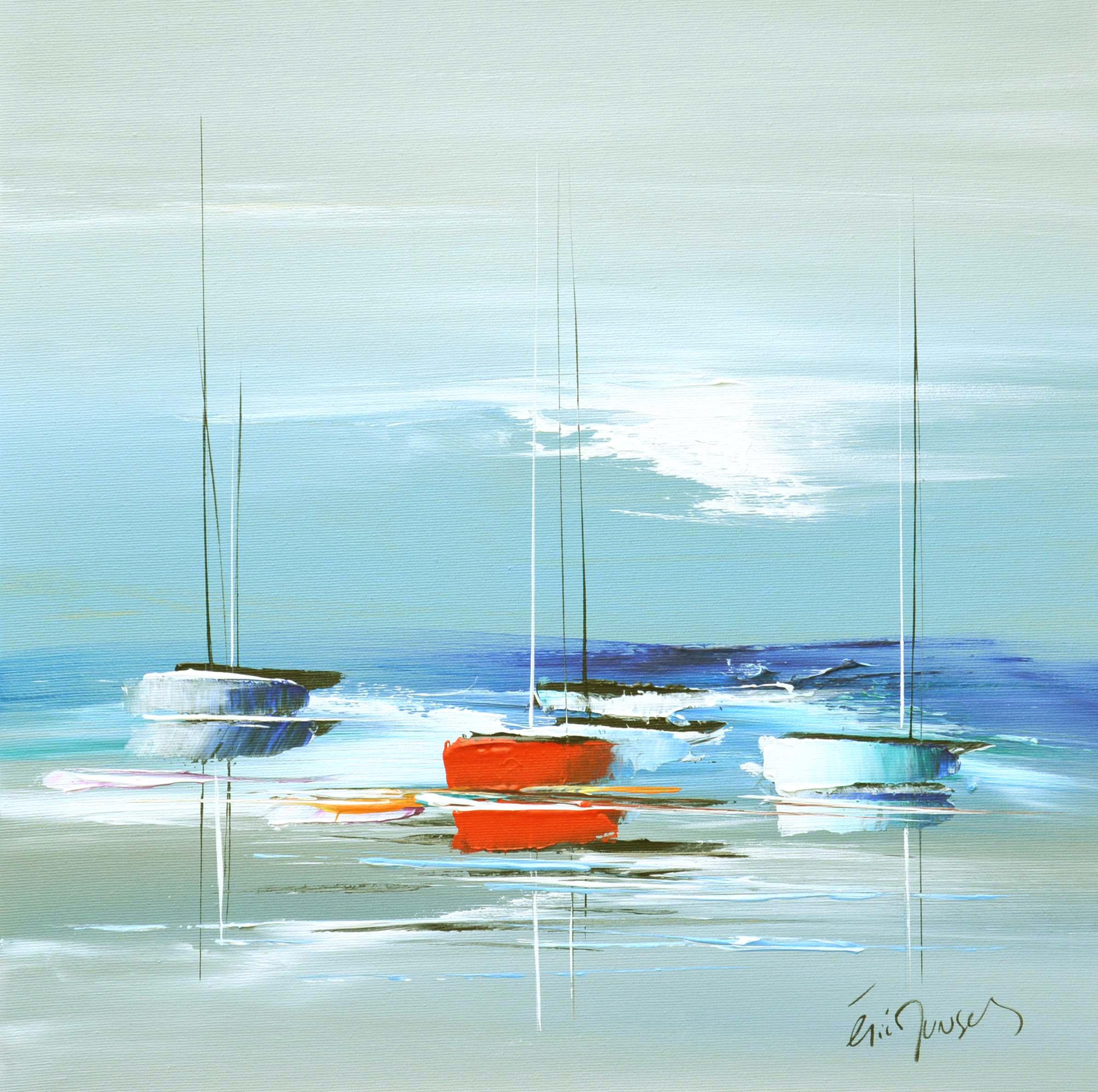 Voyage vers le large - Acrylique sur toile - 50x50 cm