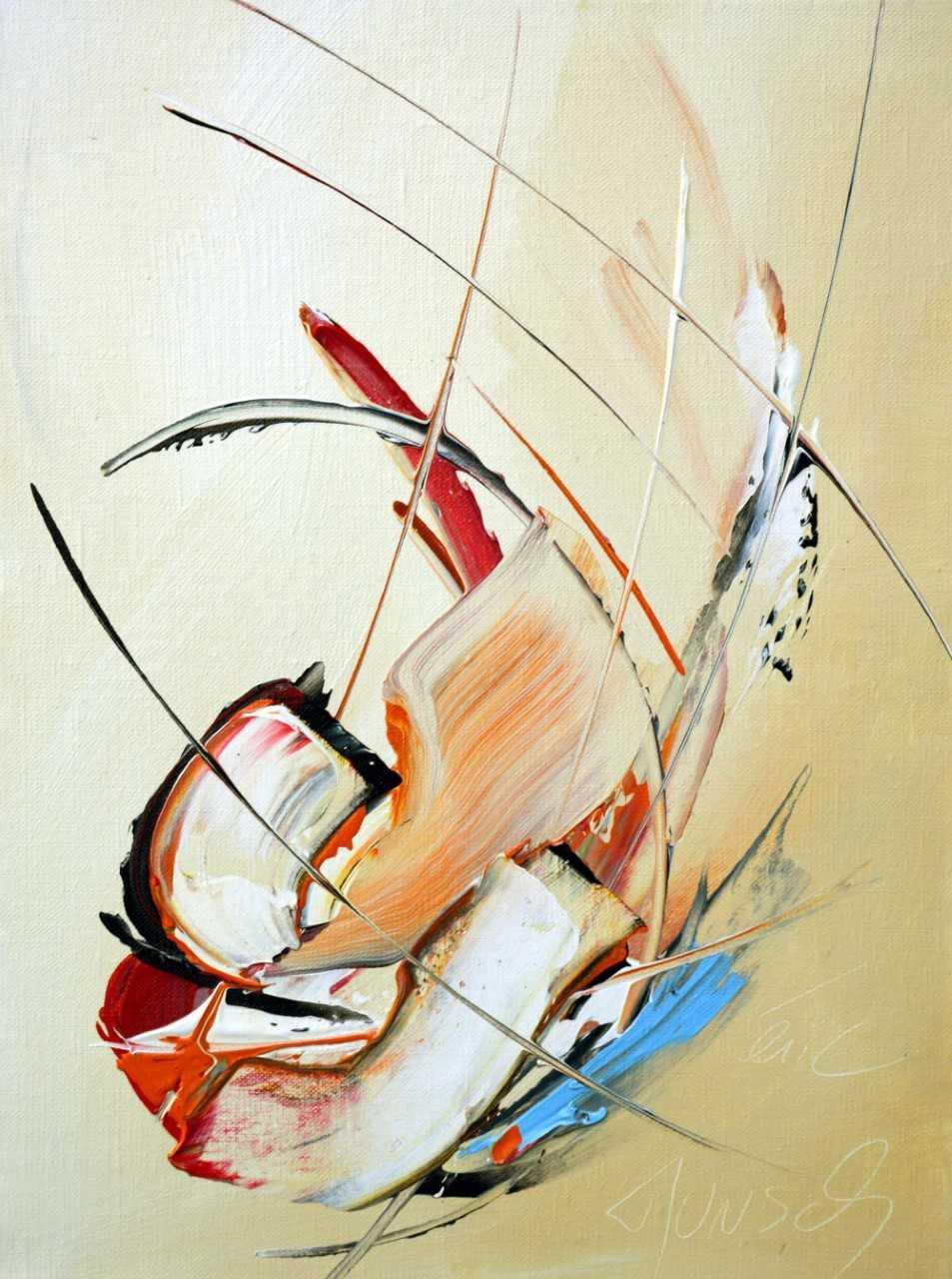 La venue sur fond brun pastel - Acrylique sur toile - 40x30 cm