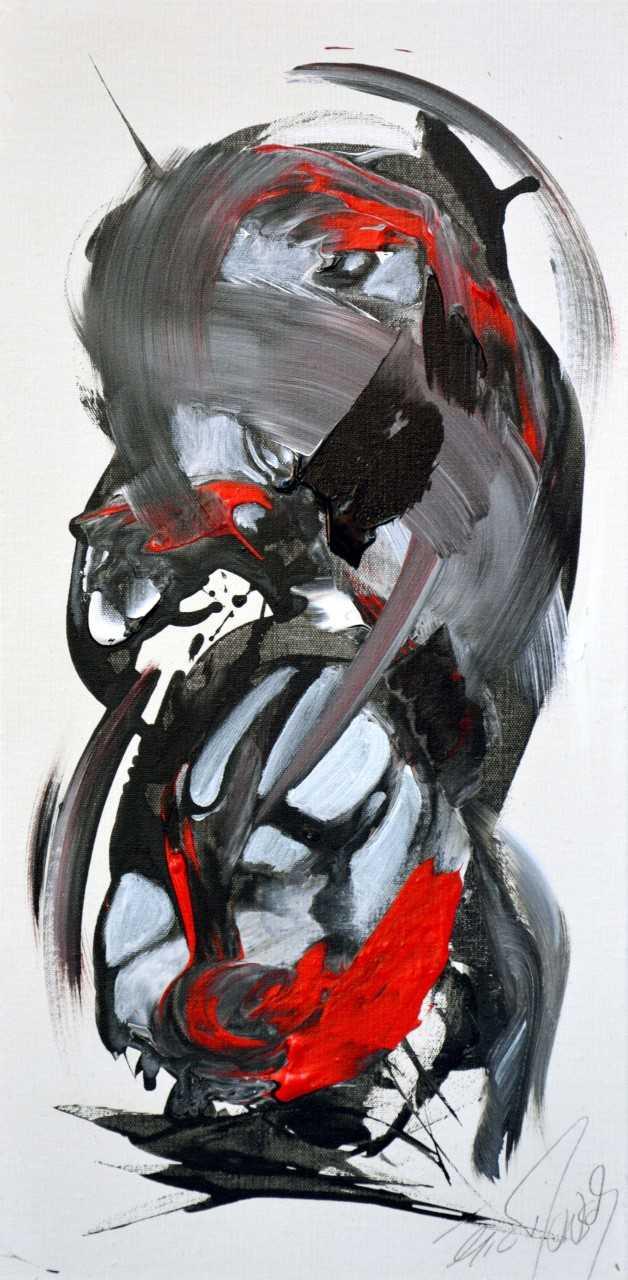 Un moment de tendresse - Acrylique sur toile - 60x30 cm