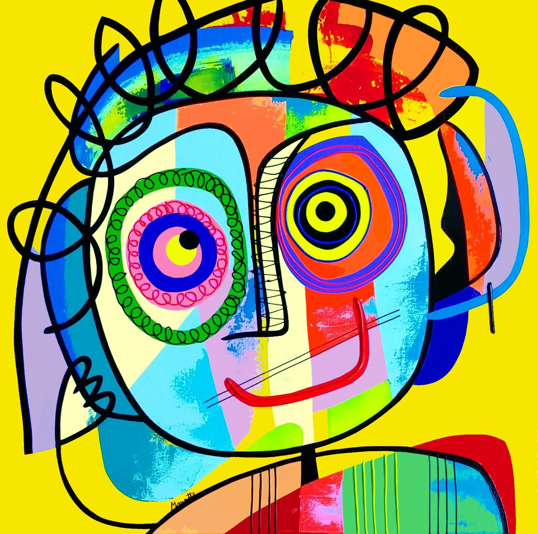 Psykedelic fond jaune- Technique mixte sur toile - 80x80 cm