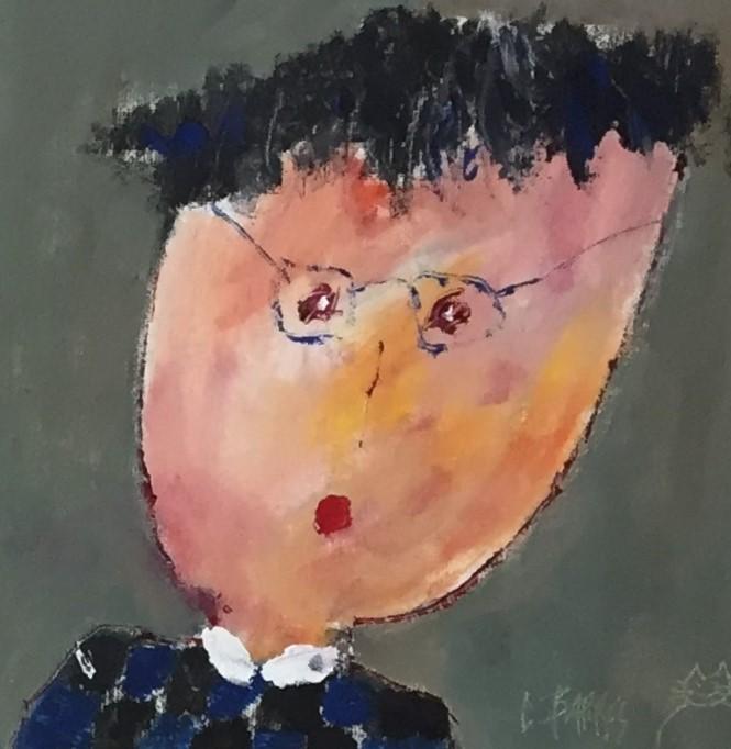 Portrait 1 - huile sur carton entoilé - 20x20 cm