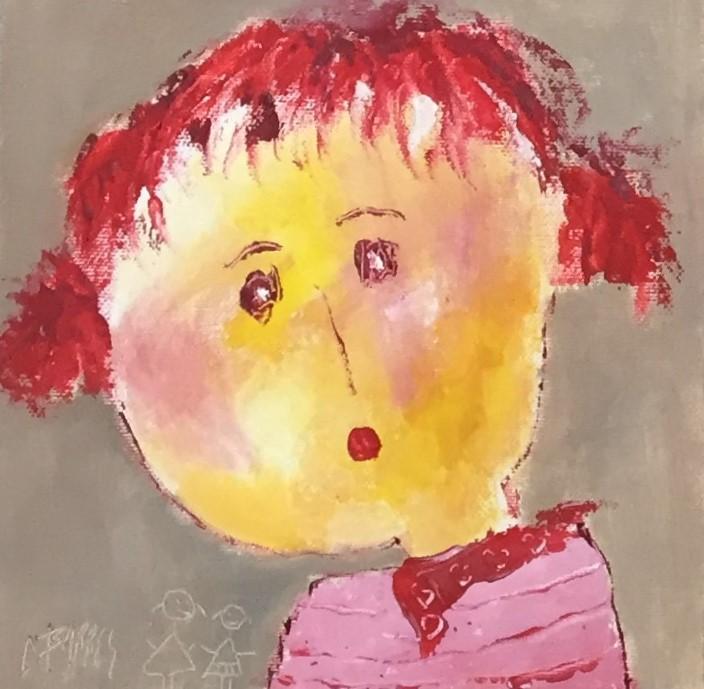 Portrait 2 - huile sur carton entoilé - 20x20 cm