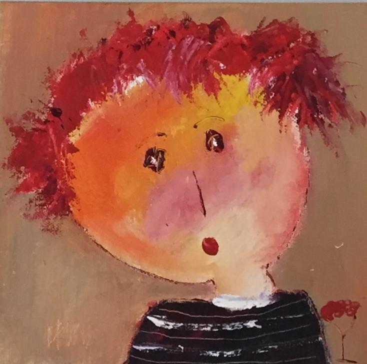 Portrait 4 - huile sur carton entoilé - 20x20 cm