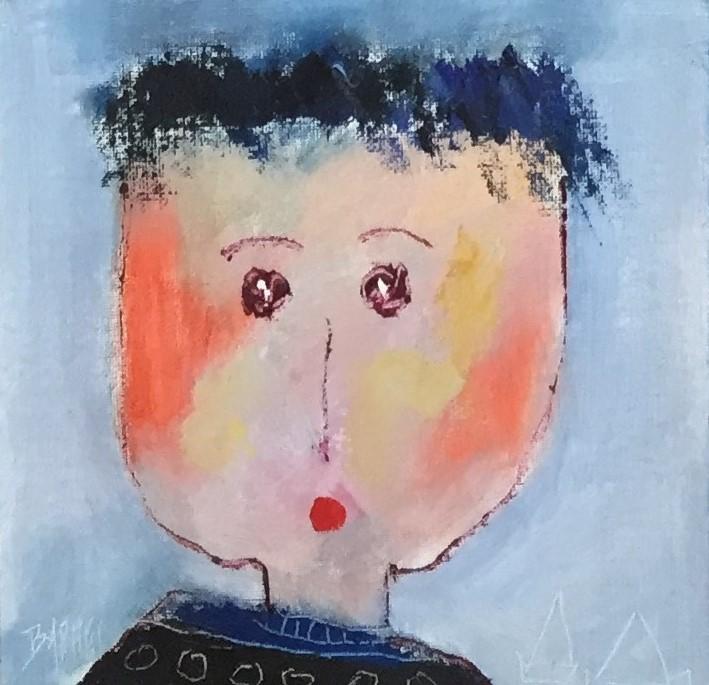 Portrait 5 - huile sur carton entoilé - 20x20 cm