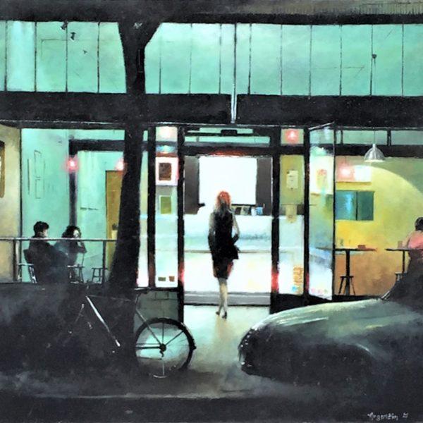 La cliente - Huile sur toile - format 57x60 cm