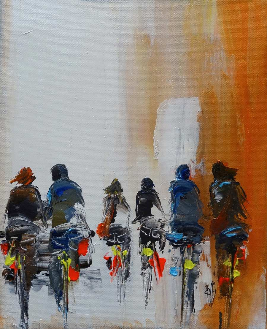 Balade en vélo - Christian Raffin - Huile sur toile - 41x33 cm - Galerie Bost