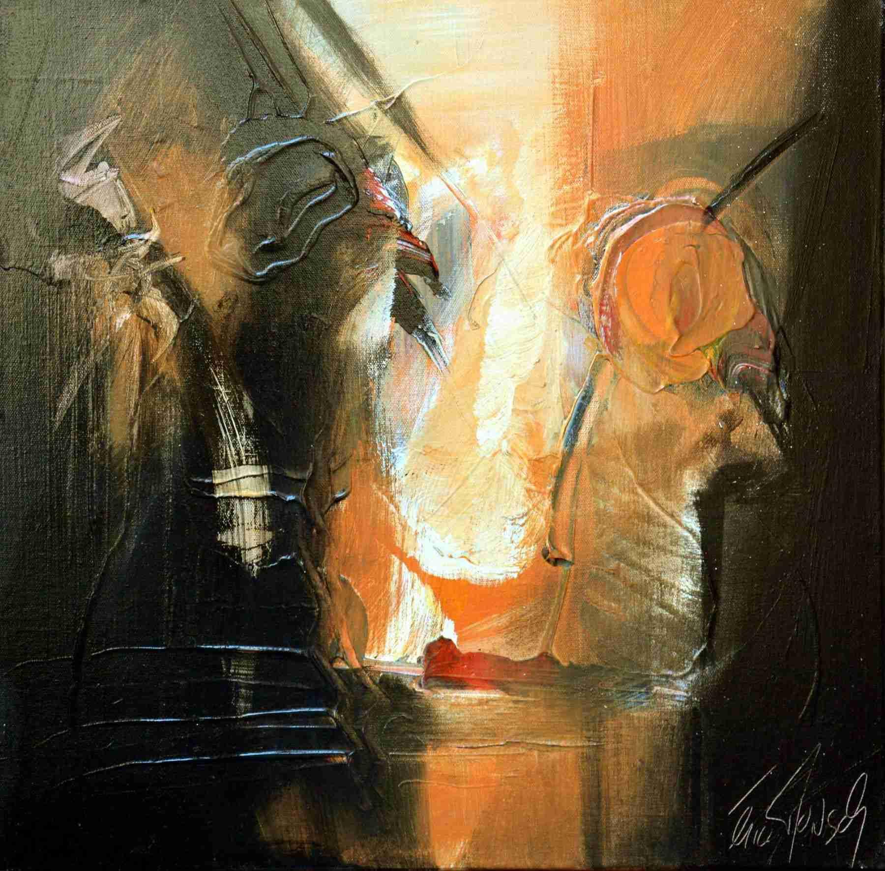 Le temps d'un regard - Eric Munsch - Acrylique sur toile - 50x50 cm - oeuvre vendue - Galerie Bost