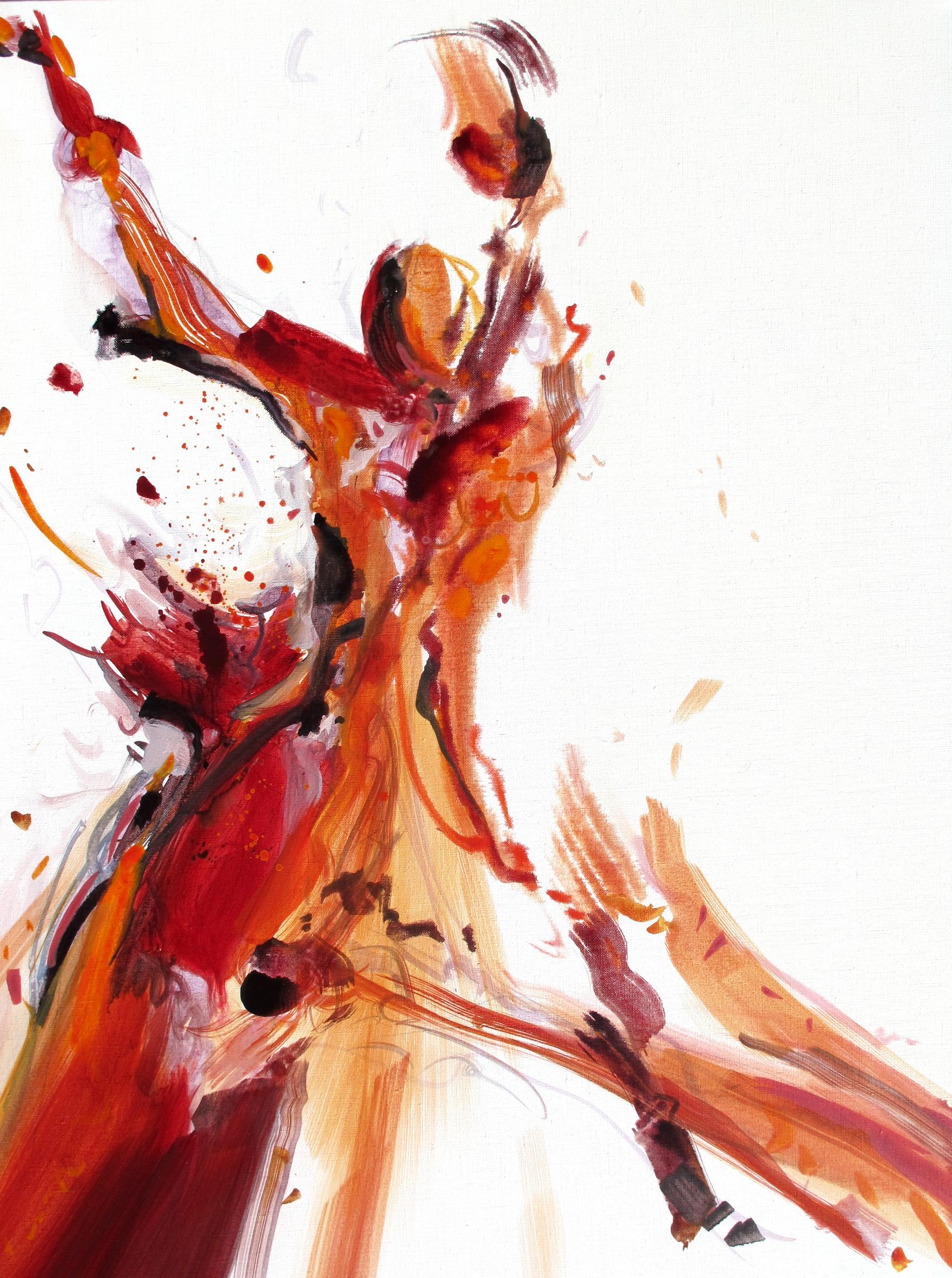 Entre Elle et Blanche n° A030519 - Acrylique sur toile - 92 x 73 cm